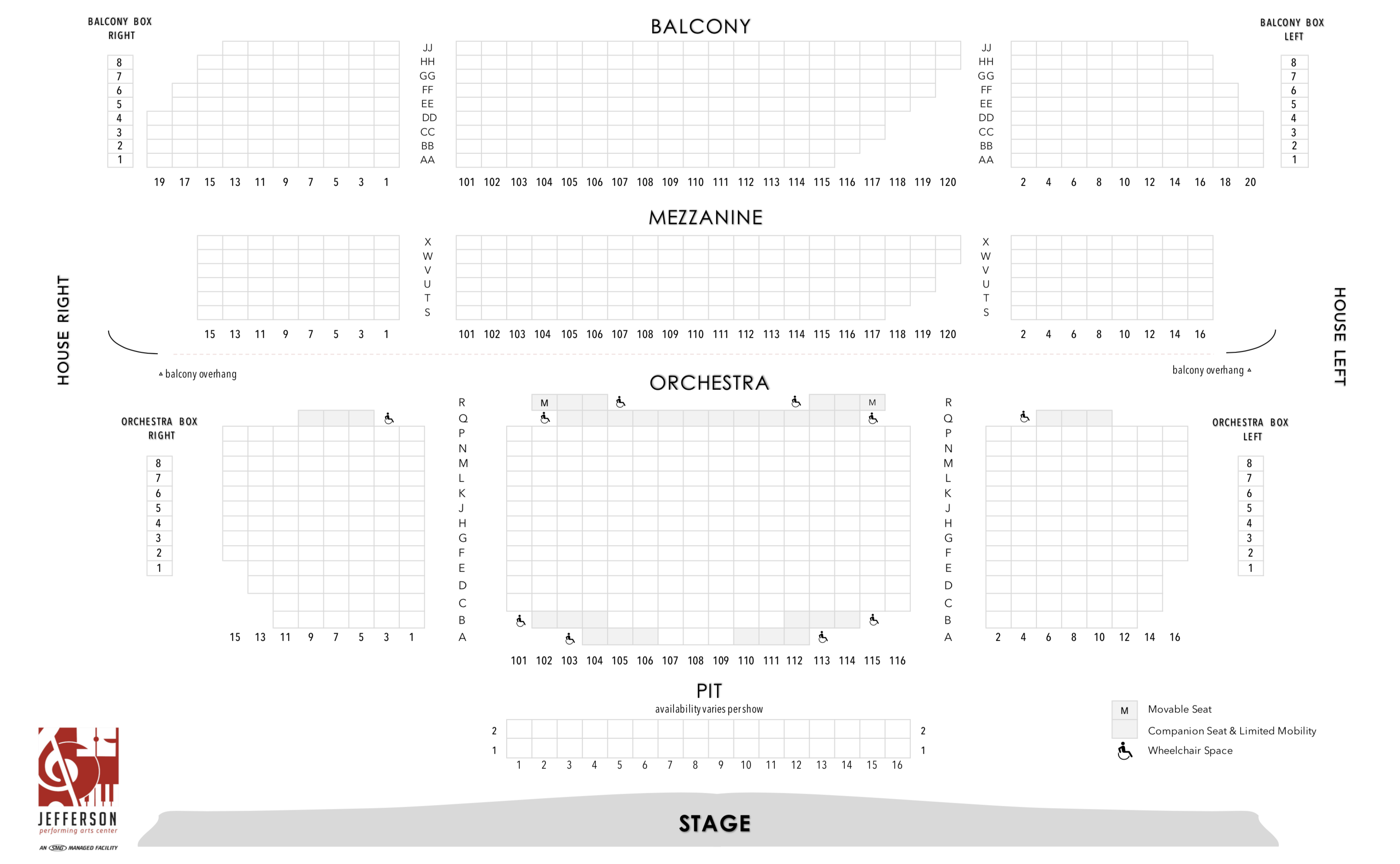 Seat Map | Jefferson Performing Arts Center